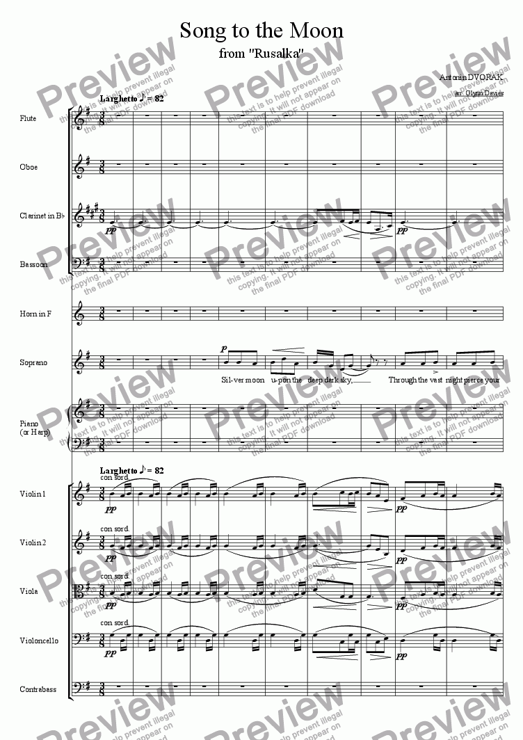 "page one of Song to the Moon, from ""Rusalka"""
