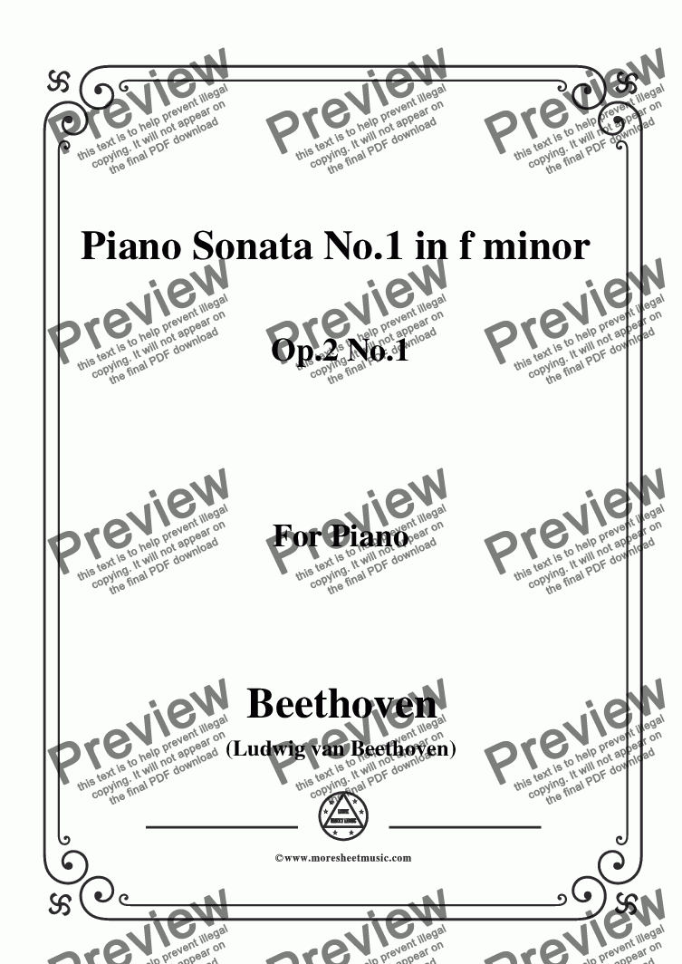 page one of Beethoven-Piano Sonata No.1 in f minor Op.2 No.1,for Piano