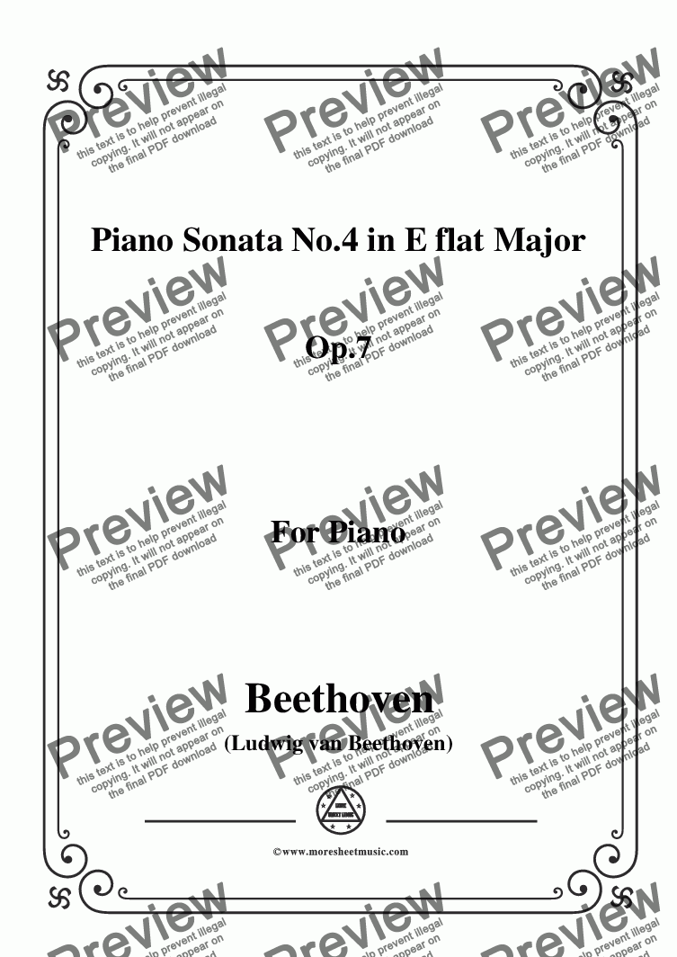 page one of Beethoven-Piano Sonata No.4 in E flat Major Op.7,for Piano