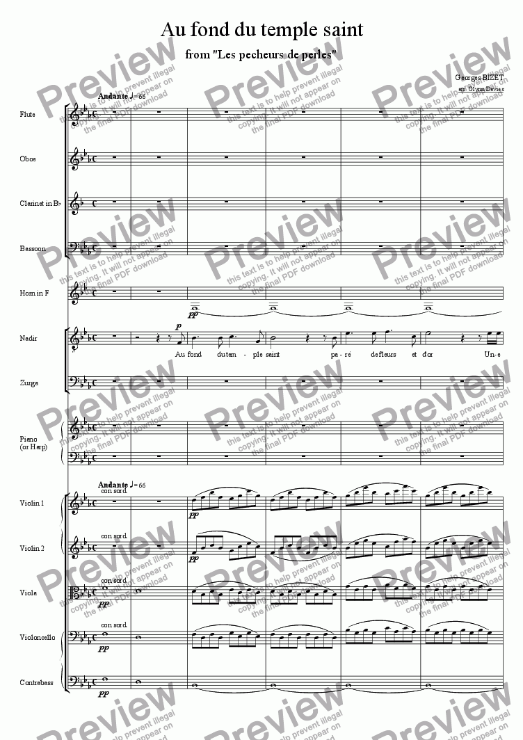 Au Fond Du Temple Saint From The Pearl Fishers For Large Mixed Ensemble By Georges Bizet Sheet Music Pdf File To Download