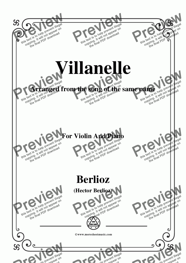 page one of Berlioz-Villanelle,for Violin and Piano