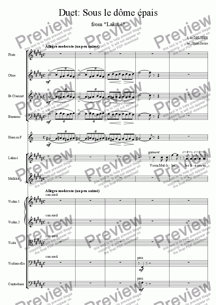 "page one of Duet: Sous le dome epais, from ""Lakme"""