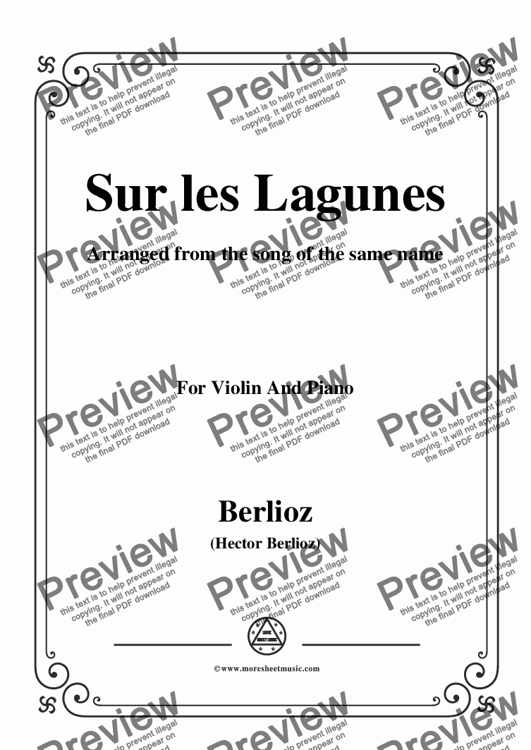 page one of Berlioz-Sur les Lagunes,for Violin and Piano