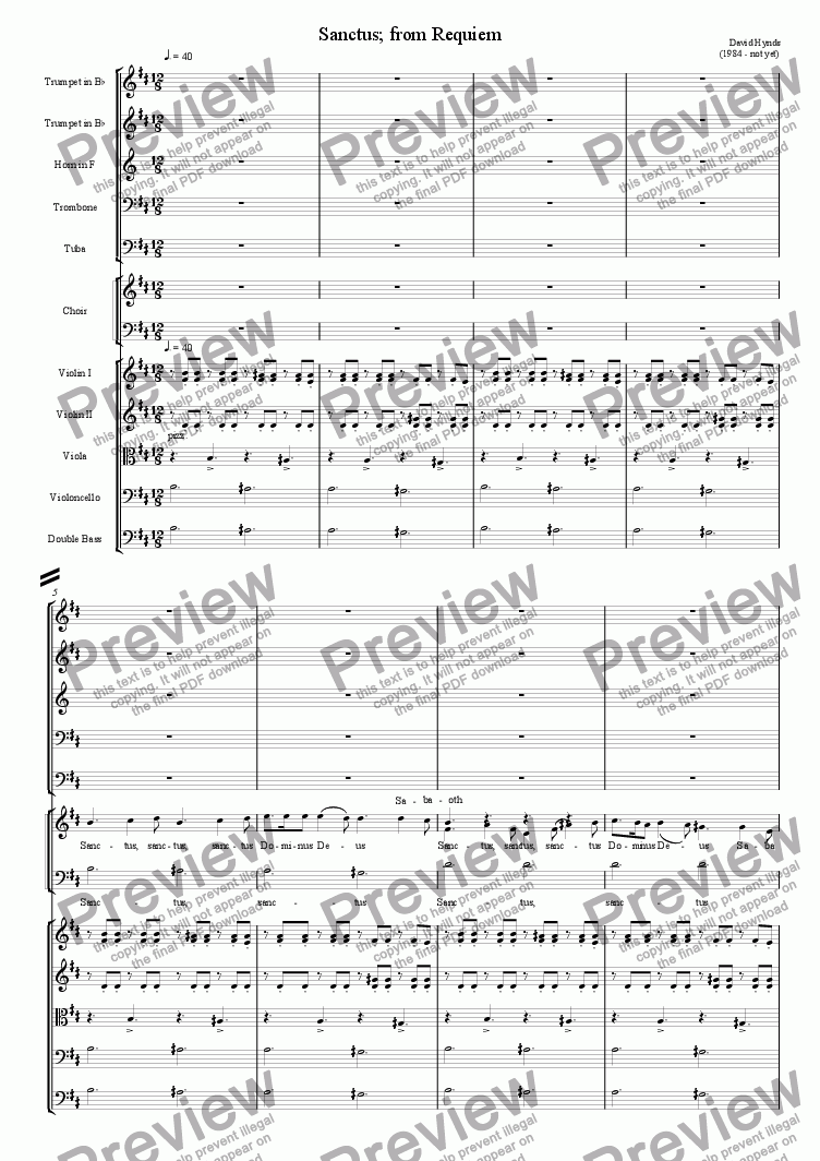 page one of Sanctus - from Requiem