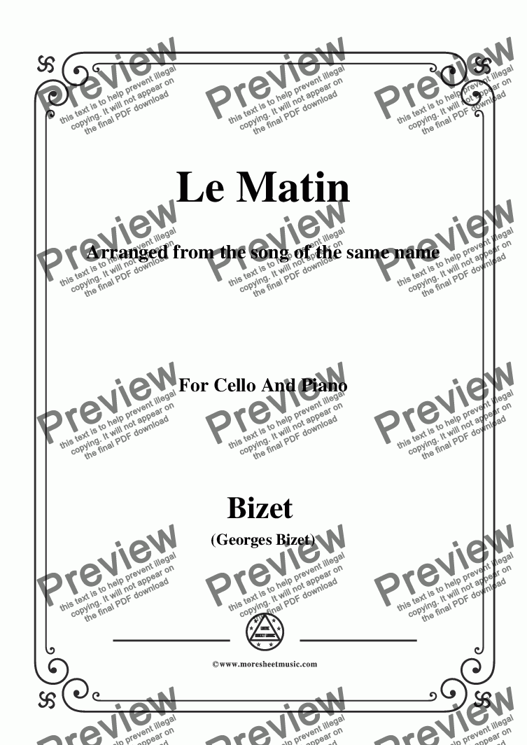 page one of Bizet-Le Matin,for Cello and Piano