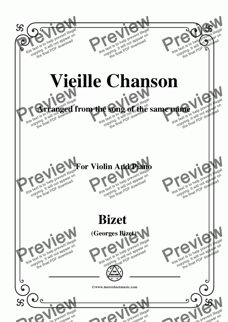 page one of Bizet-Vieille Chanson,for Violin and Piano