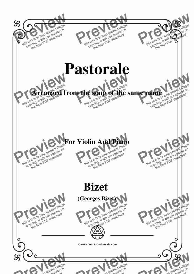page one of Bizet-Pastorale,for Violin and Piano