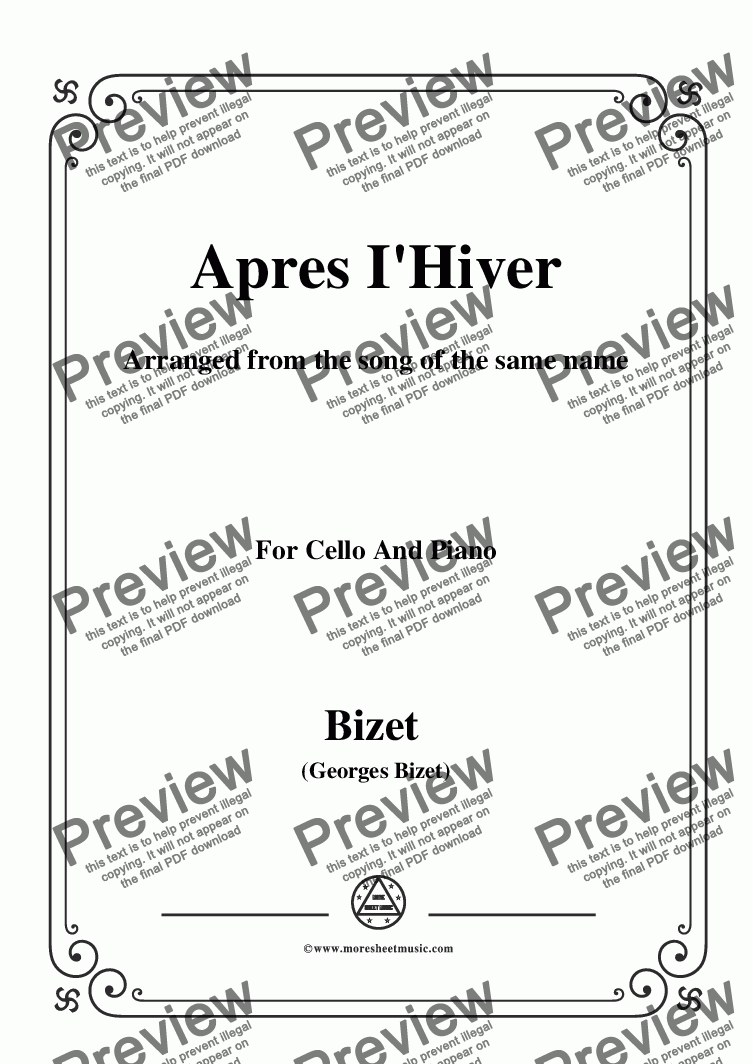 page one of Bizet-Apres I'Hiver,for Cello and Piano