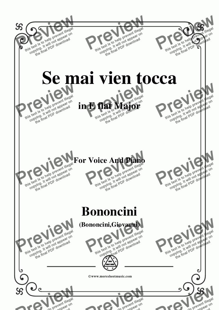 page one of Bononcini,Giovanni-Se mai vien tocca,from 'Calphurnia',in E flat Major,for Voice and Piano