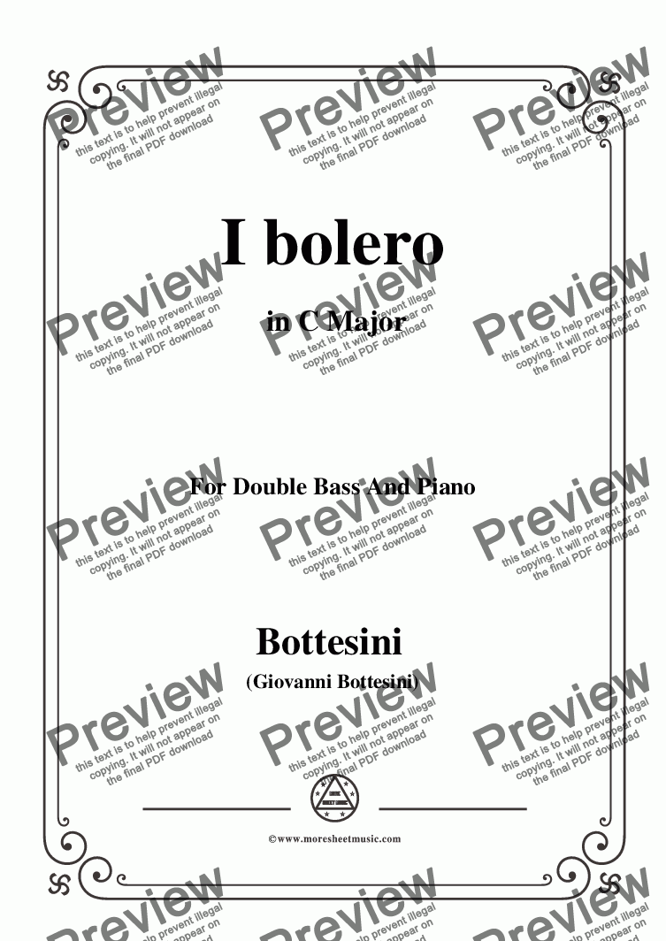 page one of Bottesini-I bolero, for Doublebass and Piano