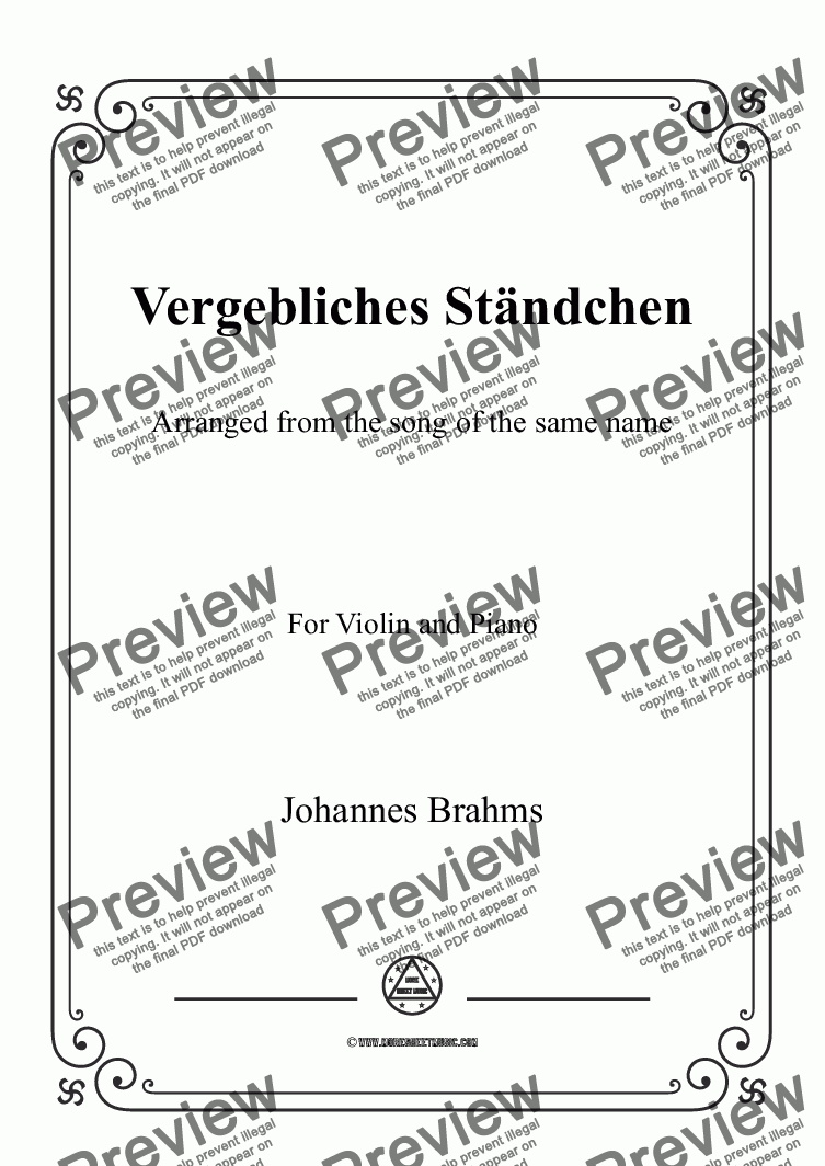 page one of Brahms-Vergebliches Ständchen,for Violin and Piano