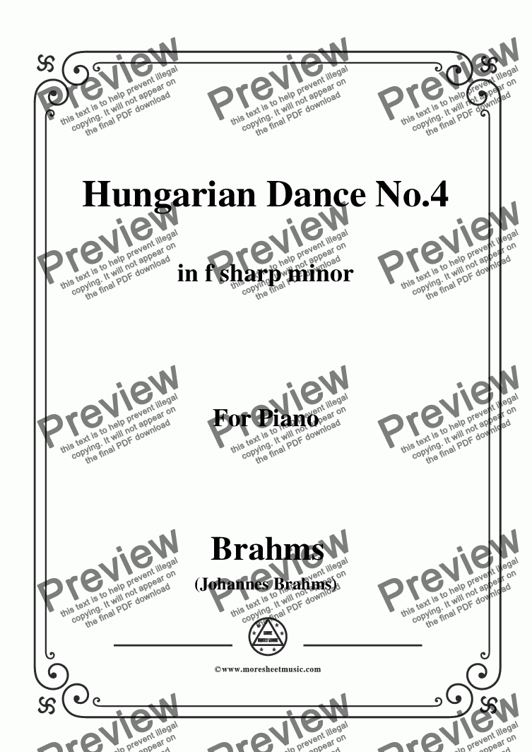 page one of Brahms-Hungarian Dance No.4 in f sharp minor,for Piano
