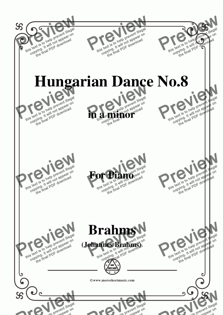 page one of Brahms-Hungarian Dance No.8 in a minor