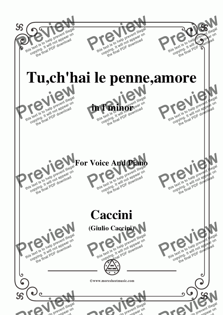 page one of Caccini-Tu,ch'hai le penne,amore,in f minor,for Voice and Piano