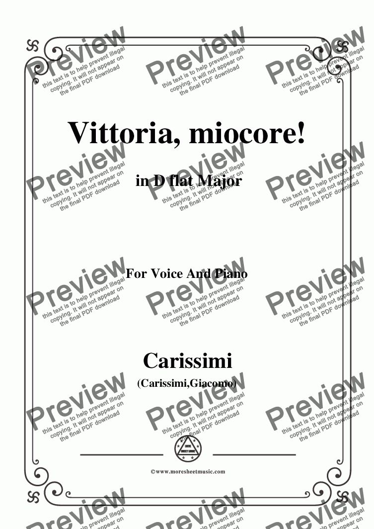 page one of Carissimi-Vittoria, mio core in D flat Major, for Voice and Piano