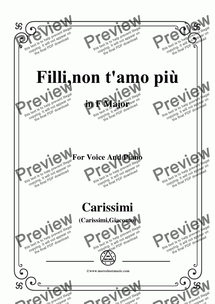 page one of Carissimi-Filli,non t'amo piu,from A Cantata,in F Major,for Voice and Piano