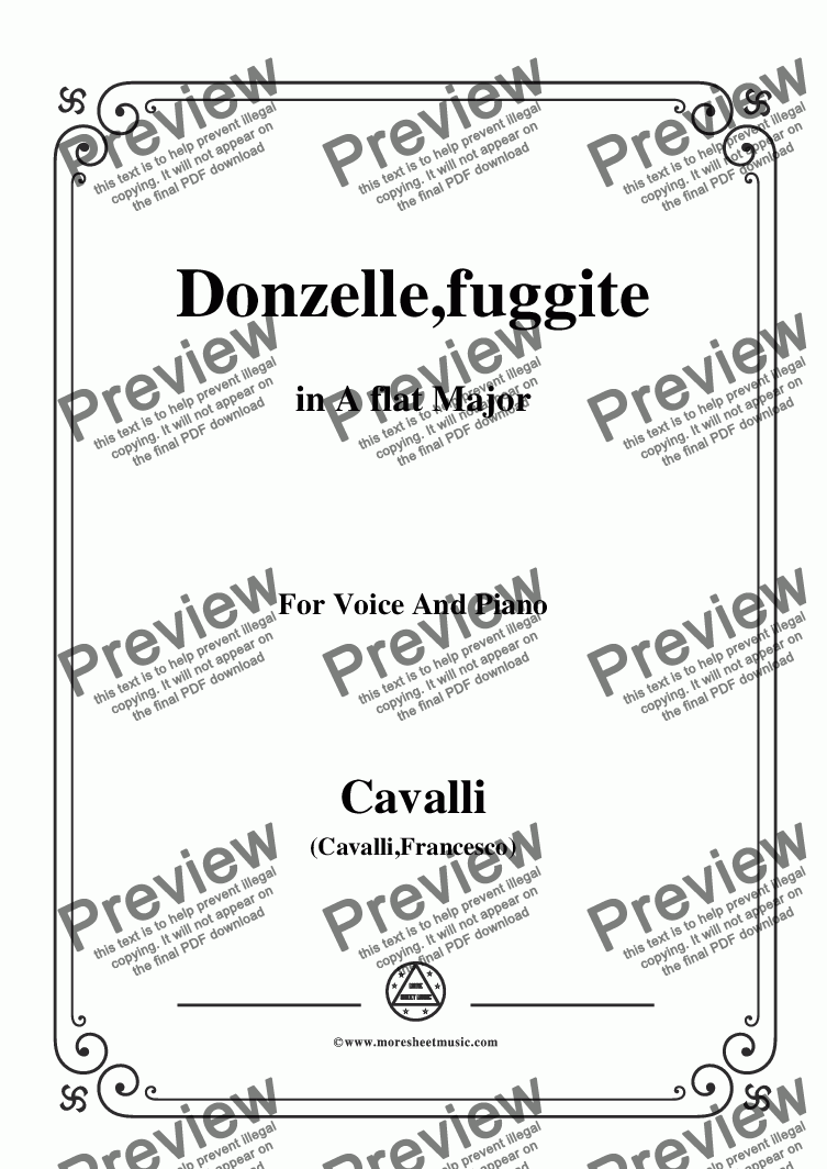 page one of Cavalli-Donzelle,fuggite,in A flat Major,for Voice and Piano