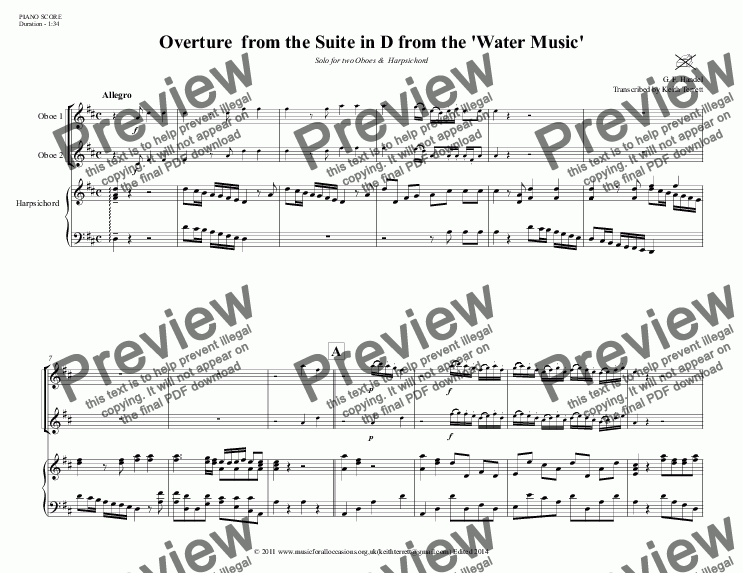 page one of Overture from Suite in D from The Water Music for two Oboes & Harpsichord