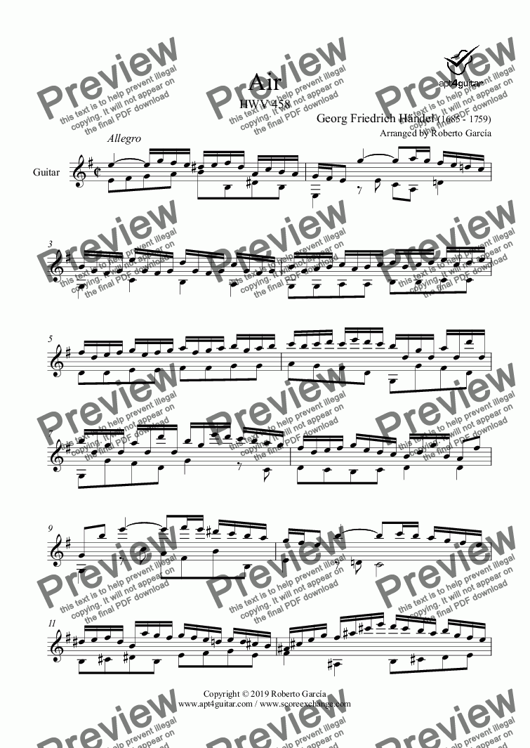 page one of Air HWV 458 for solo guitar