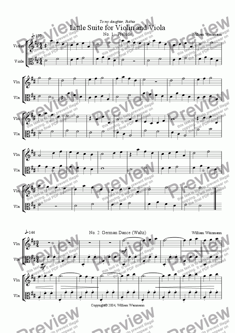 page one of Little Suite for Violin and Viola