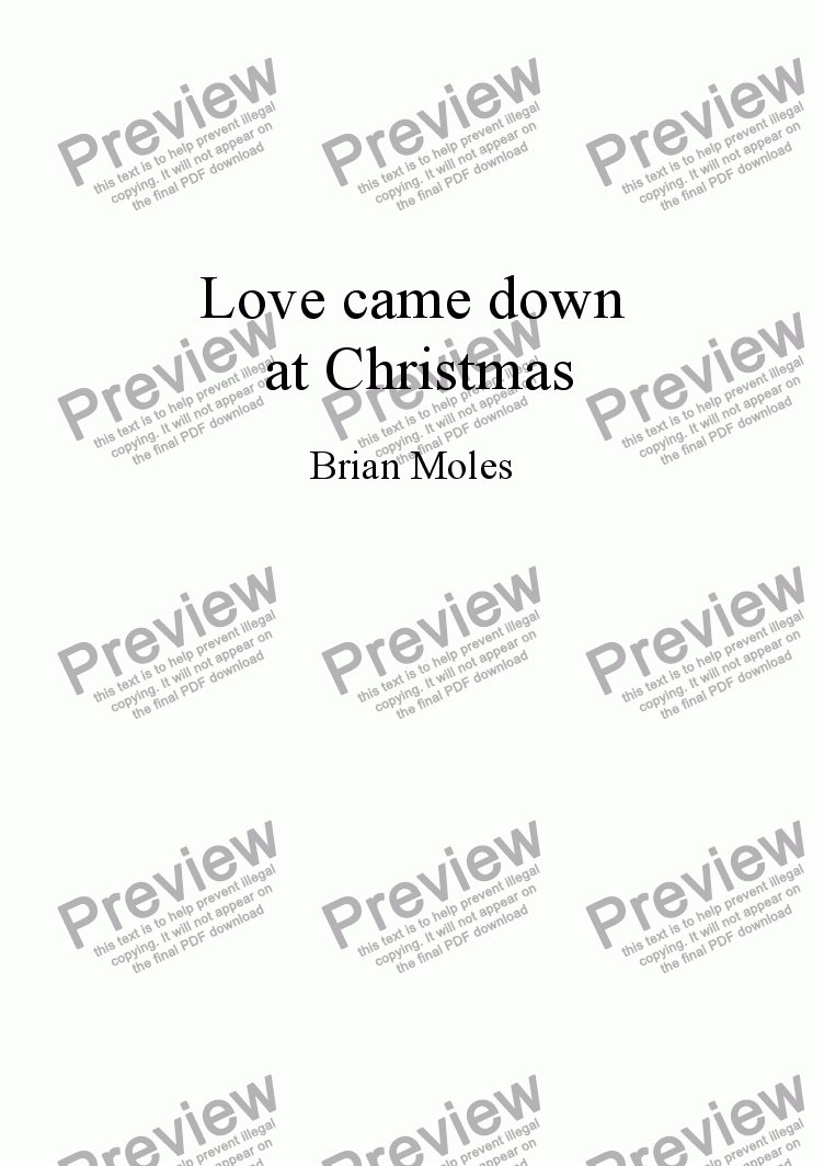 page one of Love came down at Christmas