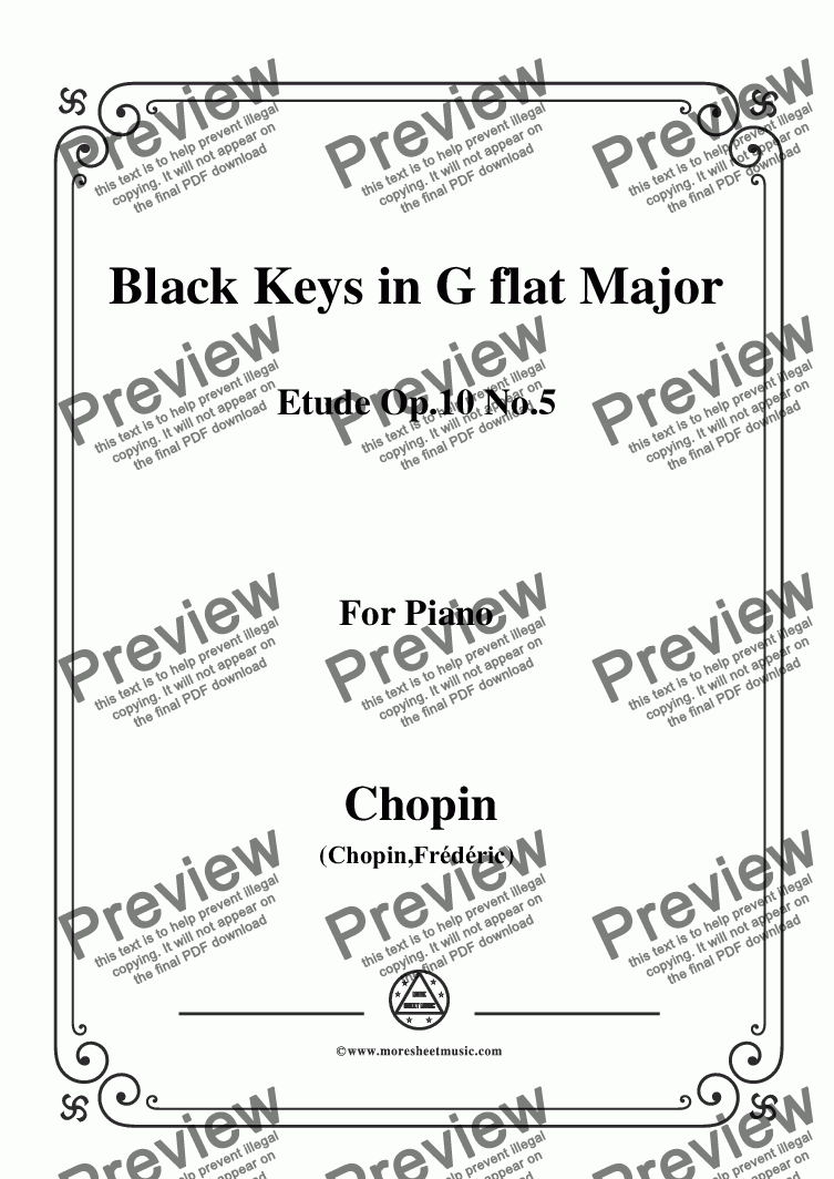 page one of Chopin-Etude No.5 in G flat Major, Op.10 No.5,Black Keys,for Piano