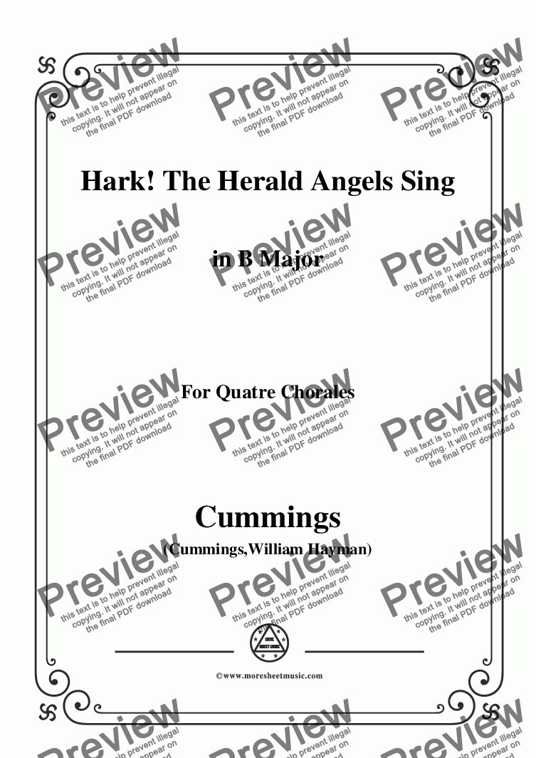 page one of Cummings-Hark! The Herald Angels Sing,in B Major,for Quatre Chorales