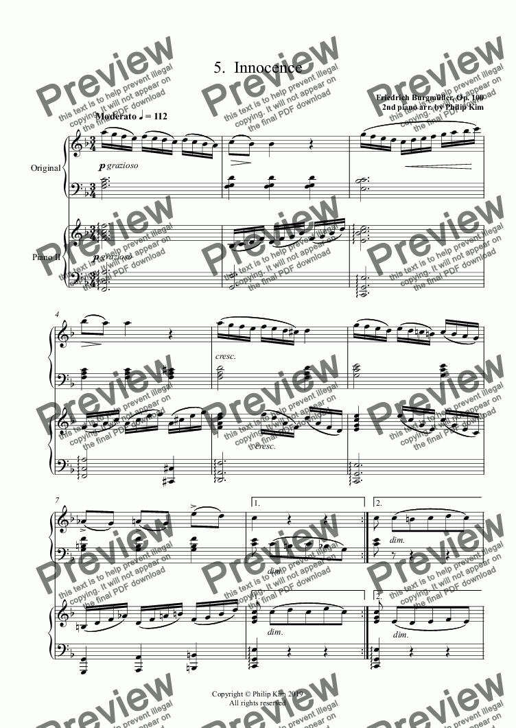 page one of 5.  Innocence from 25 Easy and Progressive studies  Op. 100 for 2 pianos