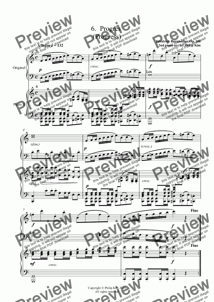 page one of 6.  Progrès  (Progress) from 25 Easy and Progressive studies  Op. 100 for 2 pianos