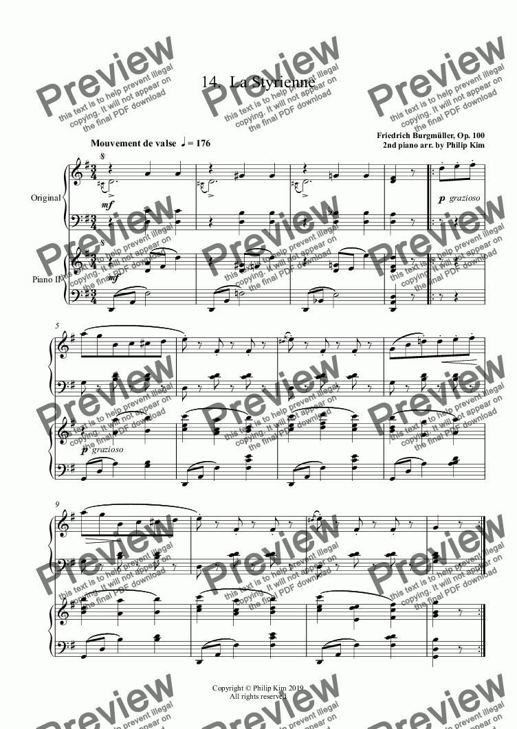 page one of 14.  La Styrienne from 25 Easy and Progressive studies  Op. 100 for 2 pianos