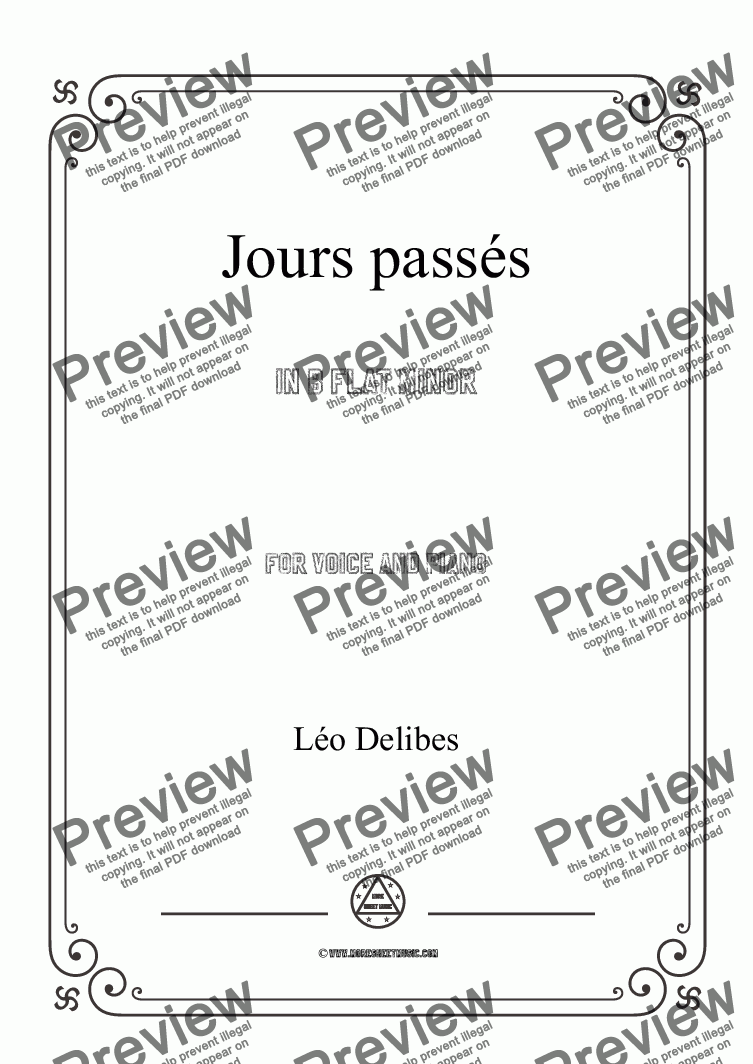 page one of Delibes-Jours passés in b flat minor,for Voice and Piano