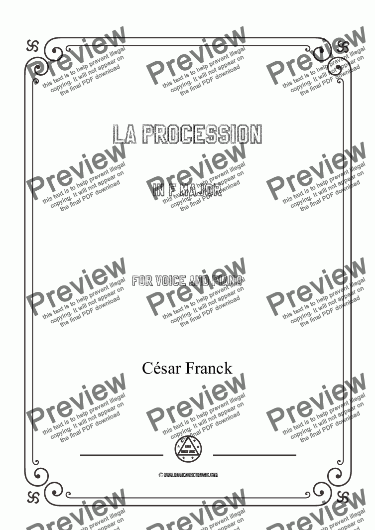 page one of Franck-La procession in F Major,for Voice and Piano