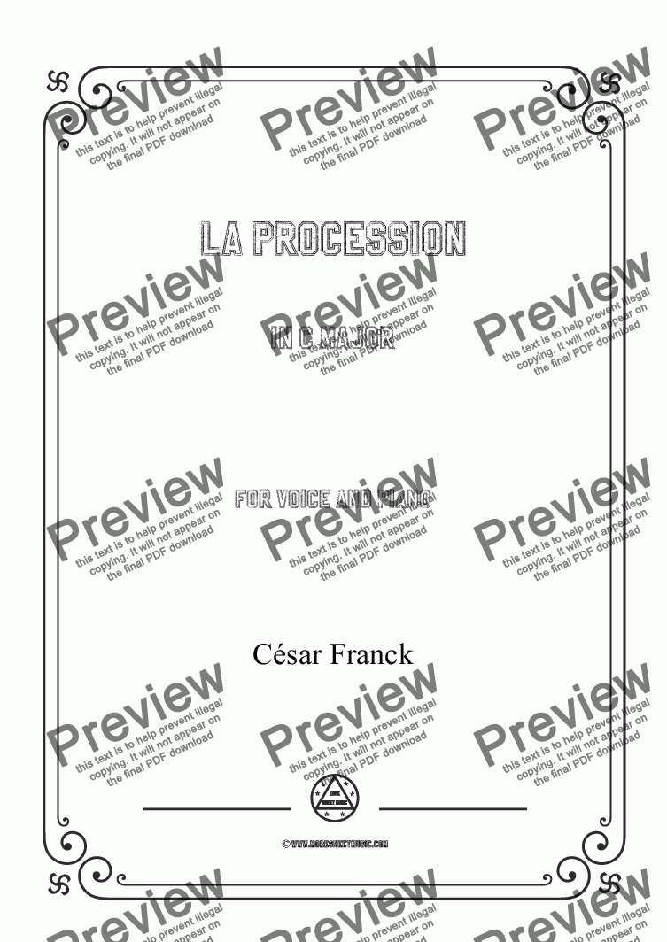 page one of Franck-La procession in C Major,for Voice and Piano