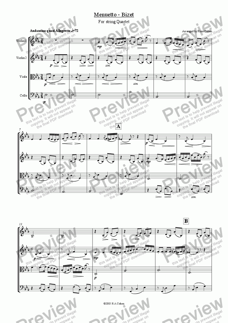 page one of Bizet - MENUETTO - for string quartet