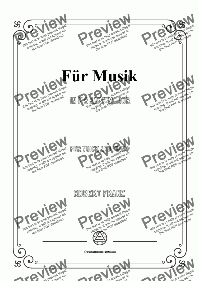 page one of Franz-Für Musik in F sharp Major,for Voice and Piano