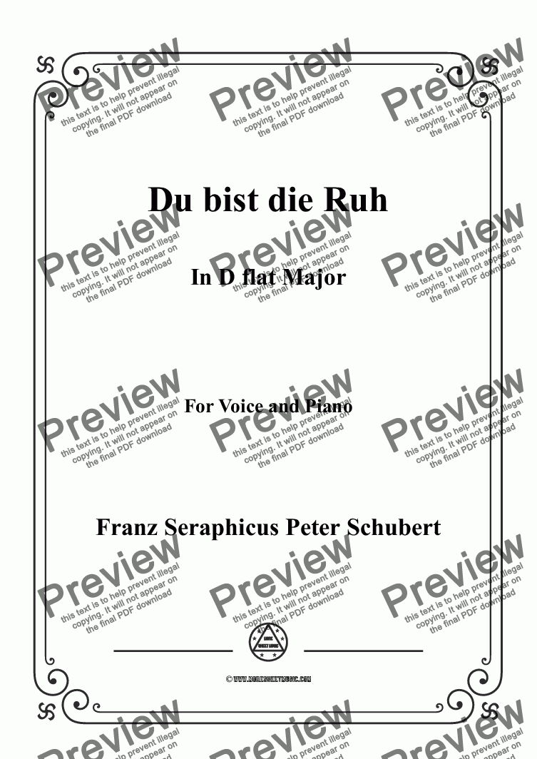 page one of Schubert-Du bist die Ruh in D flat Major,for Voice and Piano