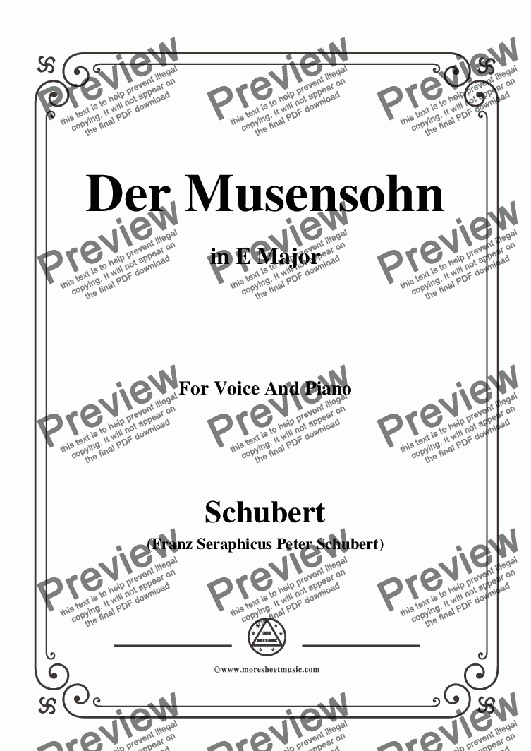 page one of Schubert-Der Musensohn in E Major,for Voice and Piano