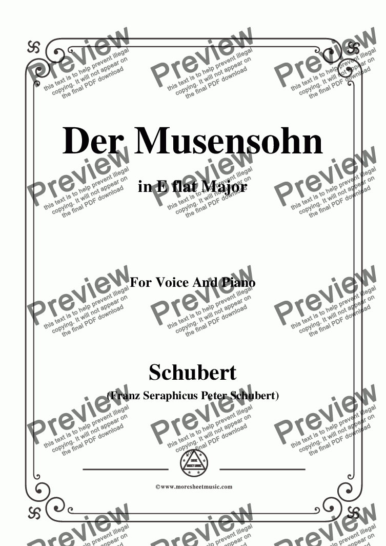 page one of Schubert-Der Musensohn in E flat Major,for Voice and Piano