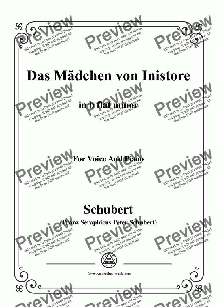 page one of Schubert-Das Mädchen von Inistore in b flat minor,for Voice and Piano