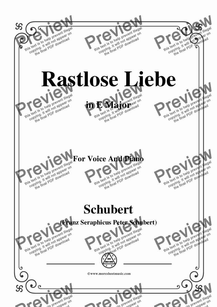 page one of Schubert-Rastlose Liebe in E Major,for Voice and Piano