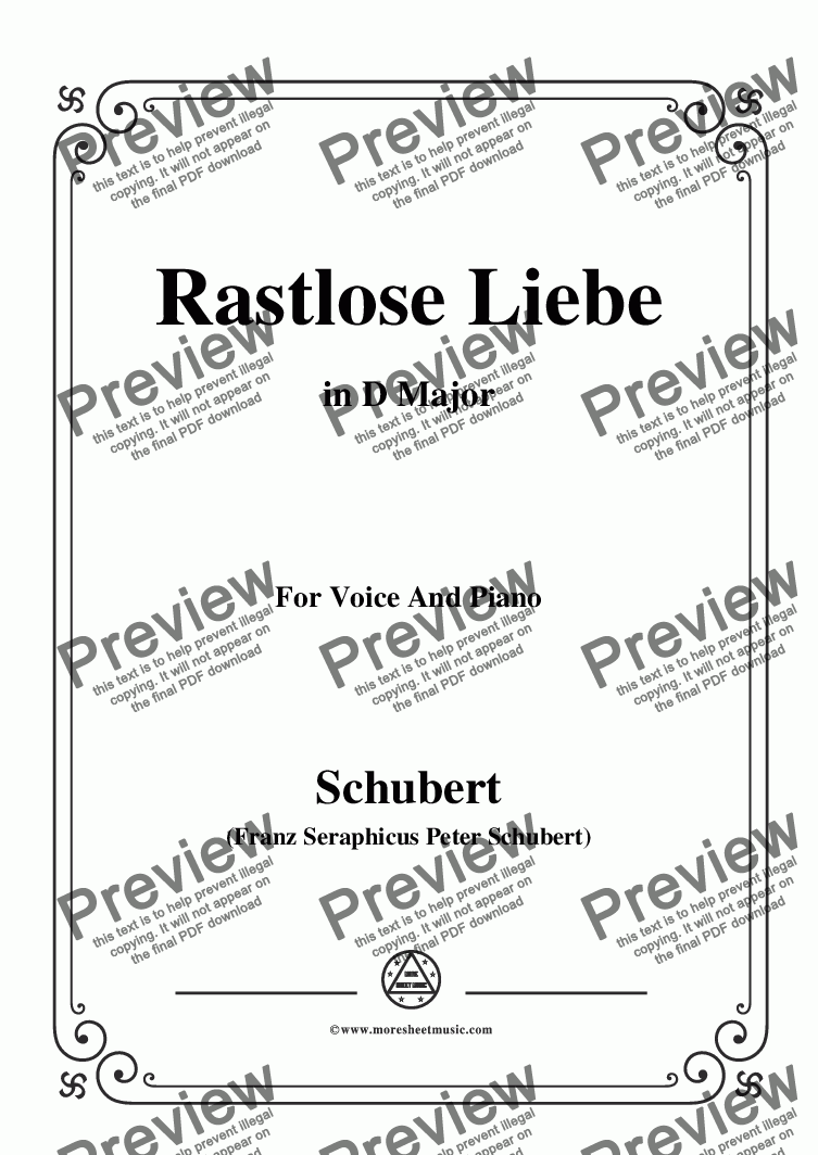 page one of Schubert-Rastlose Liebe in D Major,for Voice and Piano