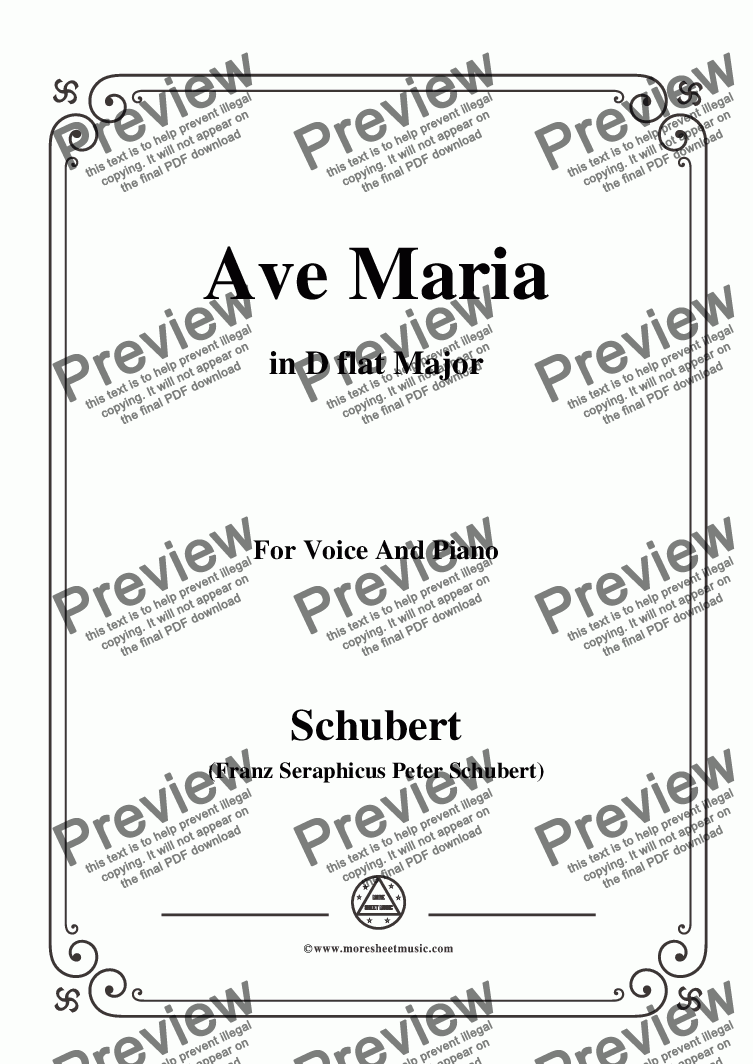 page one of Schubert-Ave maria in D flat Major,for Voice and Piano