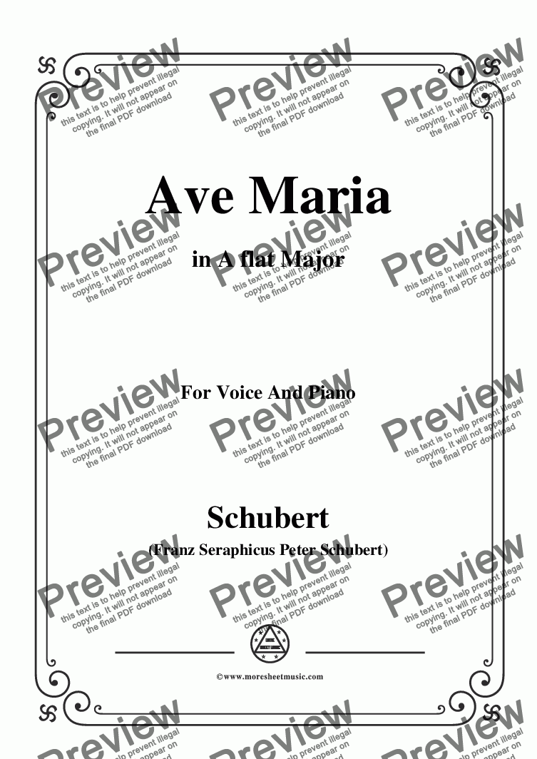 page one of Schubert-Ave maria in A flat Major,for Voice and Piano