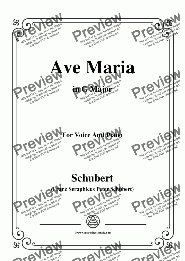 page one of Schubert-Ave maria in G Major,for Voice and Piano