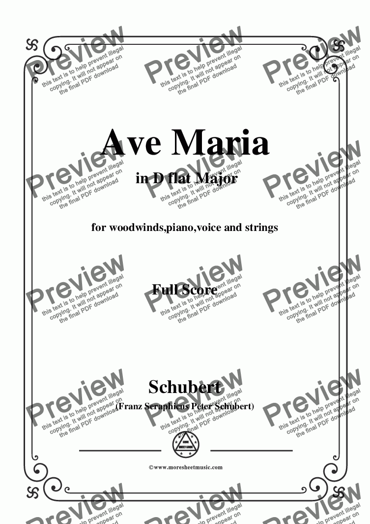 page one of Schubert-Ave Maria in D flat Major,for woodwinds,piano,voice and strings