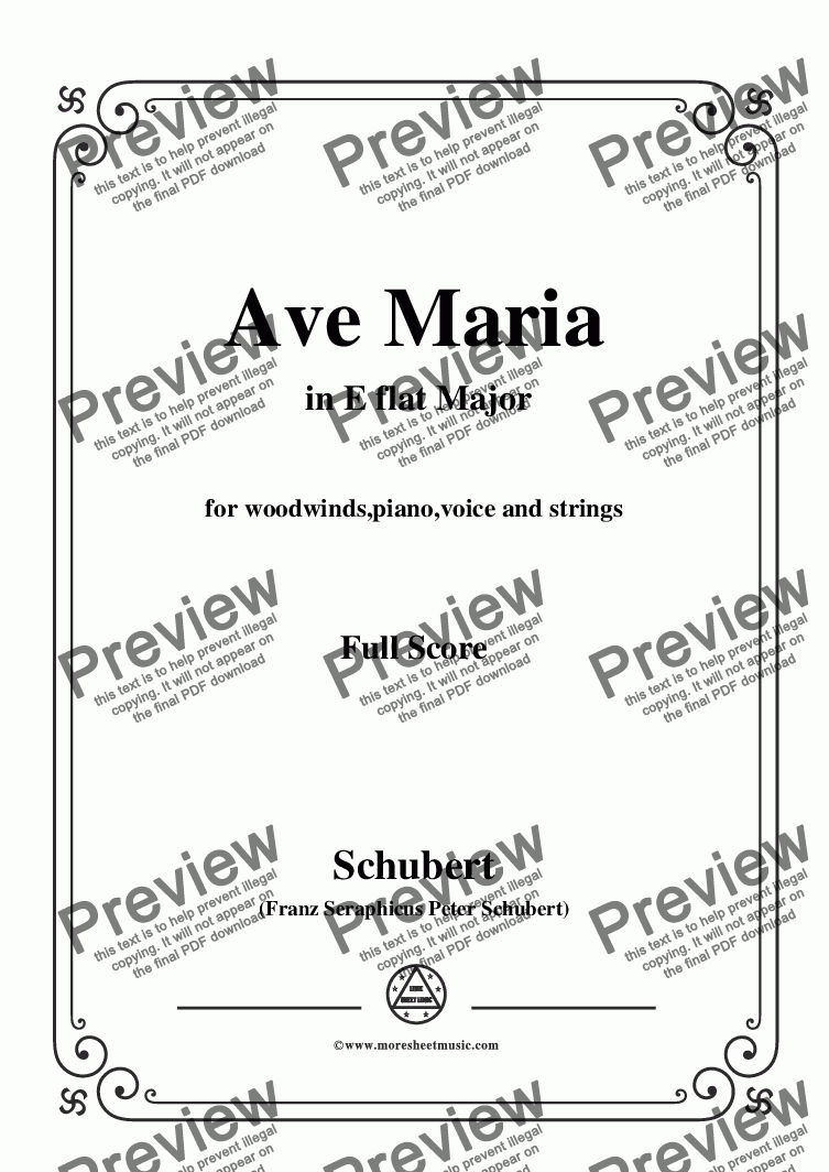 page one of Schubert-Ave Maria in E flat Major,for woodwinds,piano,voice and strings
