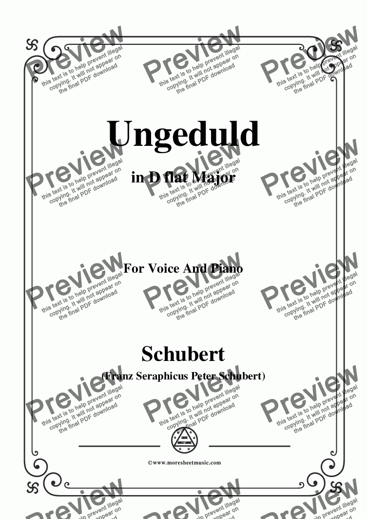 page one of Schubert-Ungeduld in D flat Major,for Voice and Piano