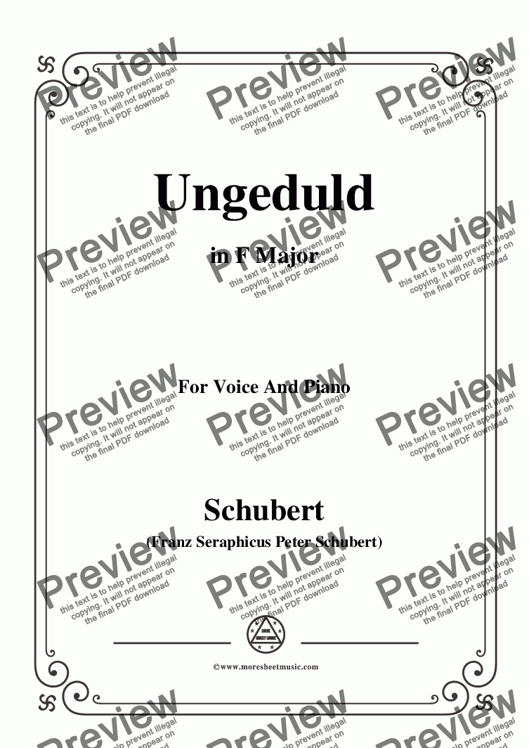 page one of Schubert-Ungeduld in F Major,for Voice and Piano
