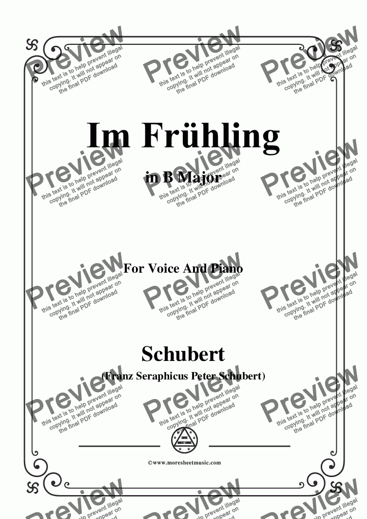 page one of Schubert-Im Frühling in B Major,for Voice and Piano