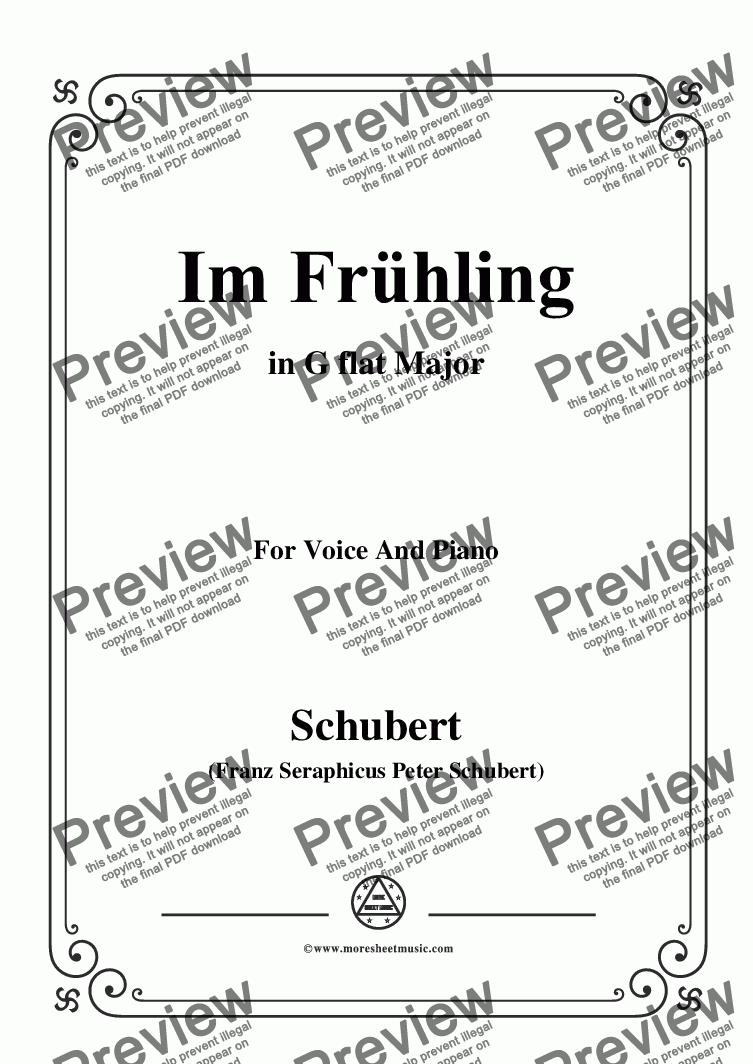 page one of Schubert-Im Frühling in G flat Major,for Voice and Piano